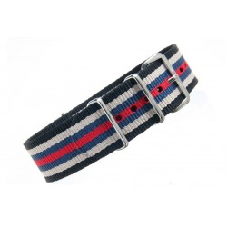 Watch NATO strap  Black/White/Red/Blue