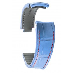 R-Strap - Alligator strap for Rolex - Glossy blue with red stitching