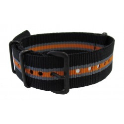 Watch NATO strap Black/Grey/Orange
