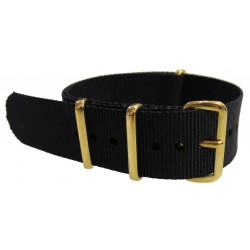 Black NATO watch strap with gold buckles