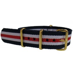 Watch NATO strap Blue/White/Red with gold buckles