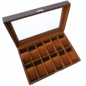 KronoKeeper box for 12 watches genuine leather with glass