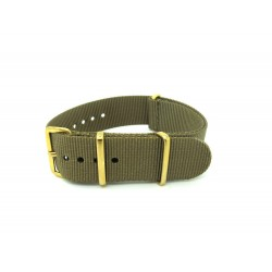 Khaki brown NATO watch strap with golden buckles