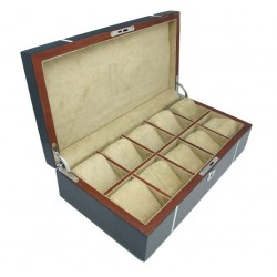 Kronokeeper watch box in blue lacquered oak wood for 10 watches