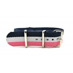 Black/White/Pink NATO watch strap