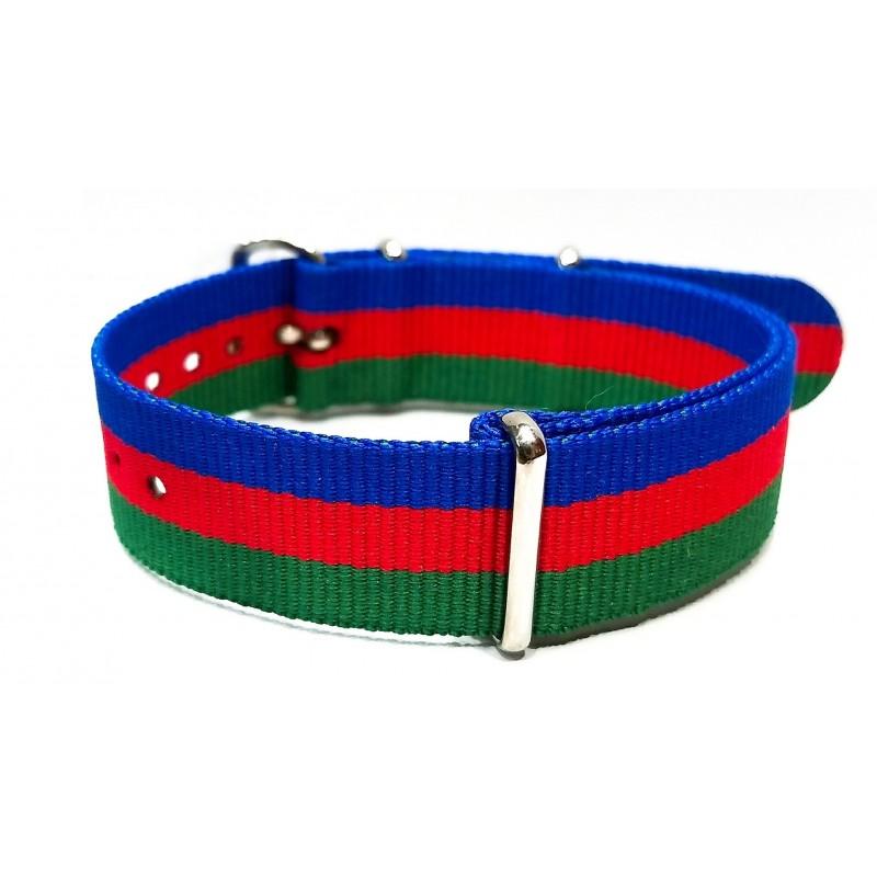 Blue/Red/Green NATO watch strap