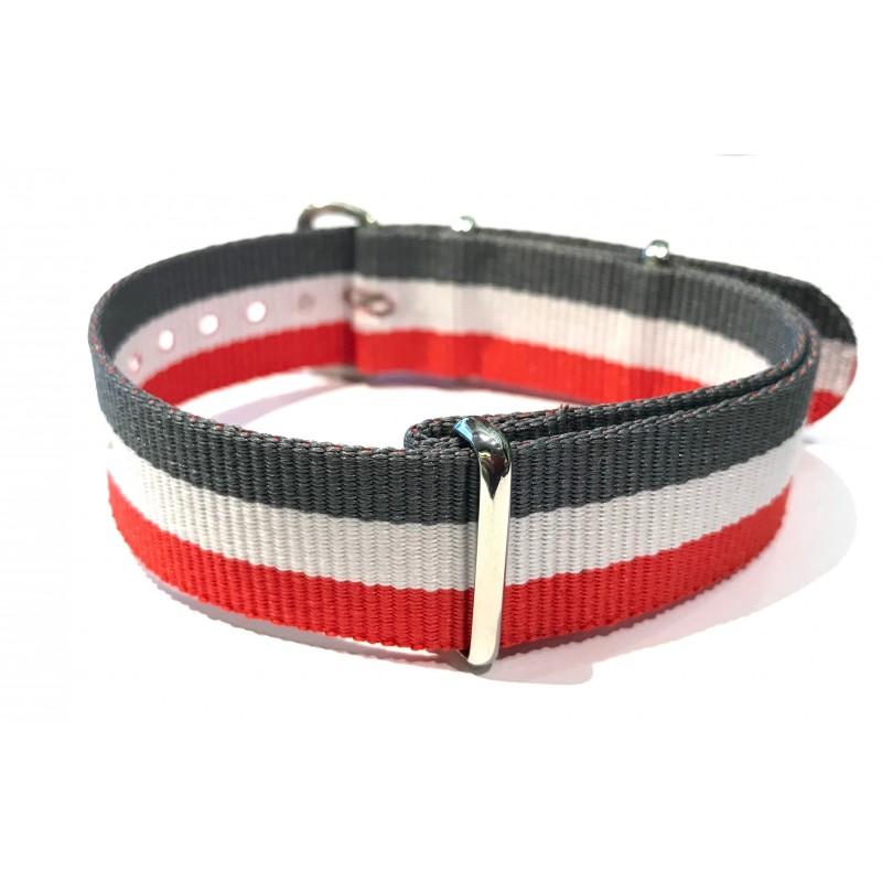 Grey/White/Red NATO watch strap
