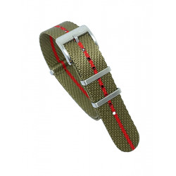 Premium NATO strap - Olive/Red