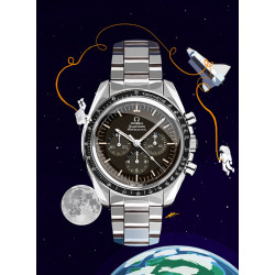 Watchoniste X MisterChrono art printing - moonwatch - 60x80