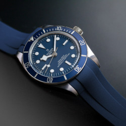Rubber B strap T801 Blue with buckle for Tudor Black bay 58