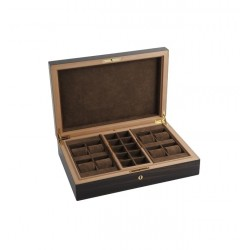 "Elie Bleu - ""Classic"" box in ebony for 8 watches and 20 cufflinks"