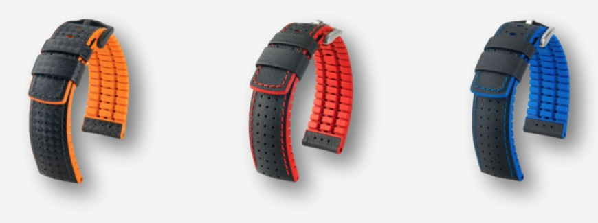 Rubber combination watch straps